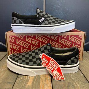 Kids Vans Classic Slip On Checkerboard Black Grey